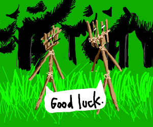 two stick people wishing each other good luck