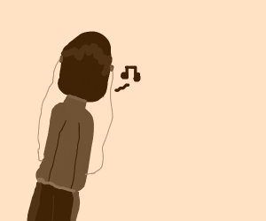 Black-haired woman listens to headphone music