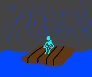 Dude will sink in stormy ocean