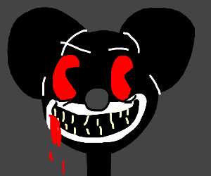 Evil mickie mouse with red eyes