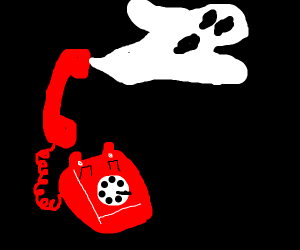 Ghost Coming out of a Telephone