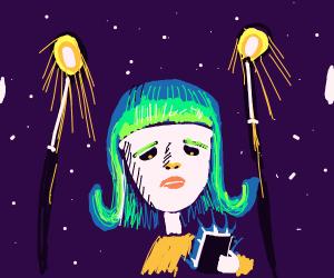 green hair girl texting