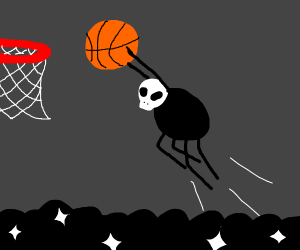 Spider with a skull head plays basketball