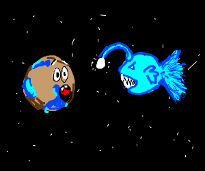 angler fish scares a planet