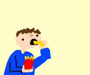 dude eating a french fry