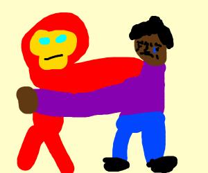 ironman hugging man in purple shirt