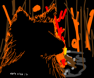 (very nice) wolf with fire behind it