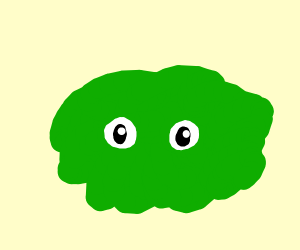 green thing with eyes