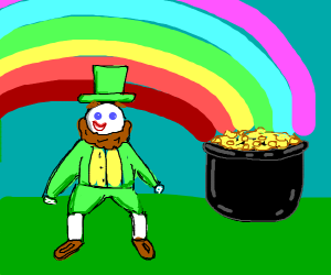 leprechaun with pot of gold with rainbow
