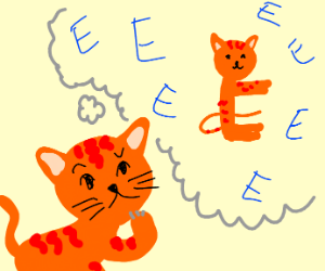 orange cat confused about whether or not to e