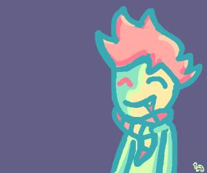 cute vampirezombie boy wearing colorful scarf