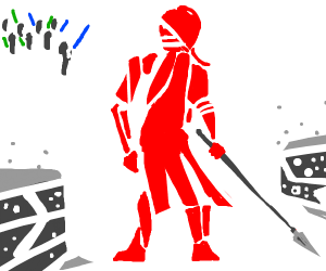 Red guard with spear