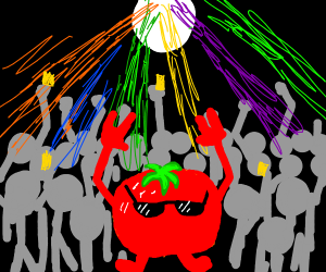 Tomatoes wearing shades at a cool party