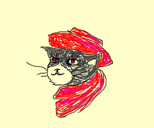 Humanish Cat with red hat