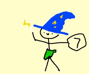 naked wizard holding the number 7 on Jupiter