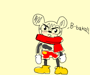 Tsundere Mickey Mouse wearing a red scarf