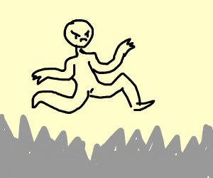 An angry man stepping on spikes