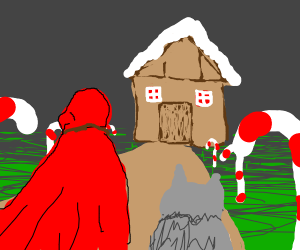 RedRidingHood &Wolf find the GingerbreadHouse
