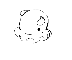 Happy octopus with wings