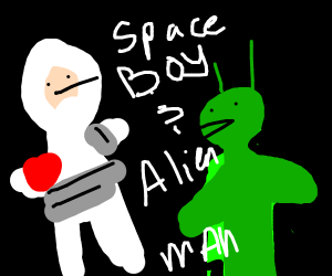 Boy and alien in outer space