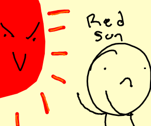 The day the sun turned red. A modern art piec