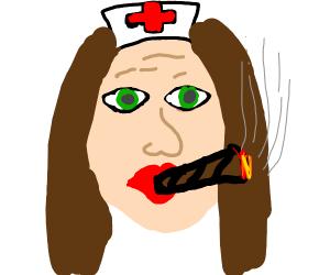 Nurse using a cigar