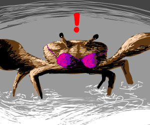 Mr crab surpised by his bra
