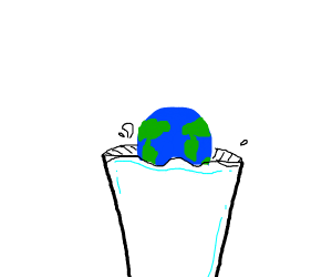 dunking the earth into milk