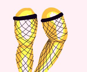 Golden legs in fishnets