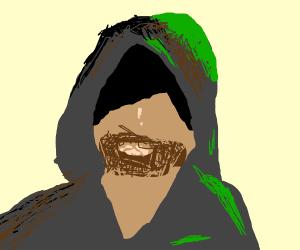 Dark, bearded, hooded man