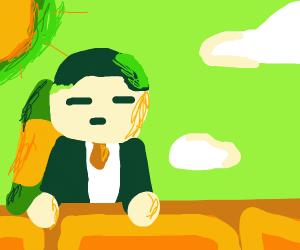 kim jon un with a nuke on his back: hiding it