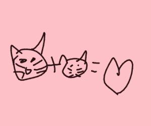Cat, kitten and heart