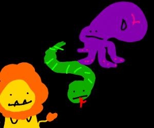 An octopus, a snake and a lion