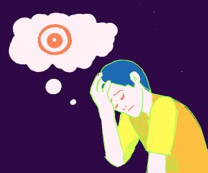 sad man thinking about bullseye (the villan)