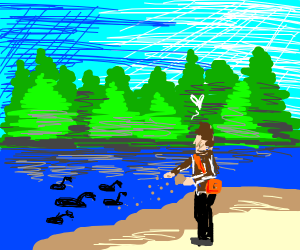 I love to feed ducks in the stream