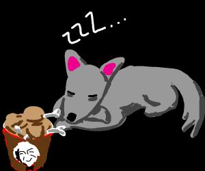 sleeping wolf with chicken drumsticks 4 legs