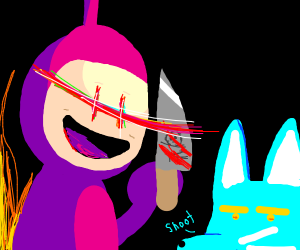 purple Teletuby threatening a fox with knife
