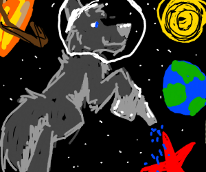 Space wolf watering a red star