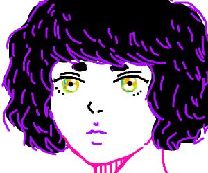 Portrait of a cute anime girl with short hair