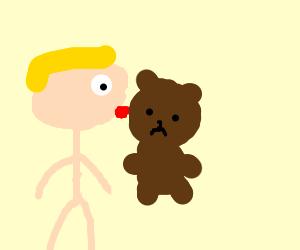 Jazza kissing a teddybear