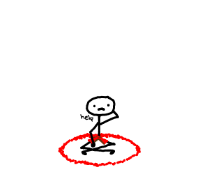 stickman with red shorts sits in a red cirkle