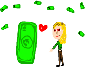 woman falls in love with money