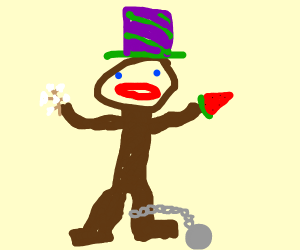 African American w/ purple and green top hat