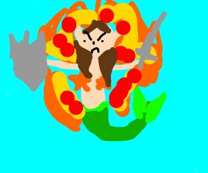 angry mermaid elf is on fire w sword n shield