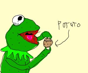 kermit peels a potato
