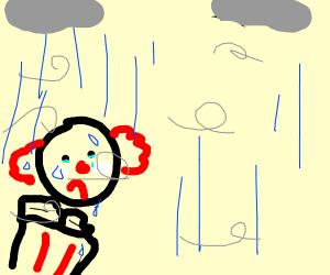 sad clown in the rain