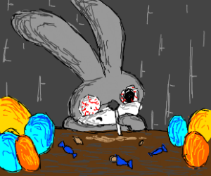 Easter bunny addicted to candy.
