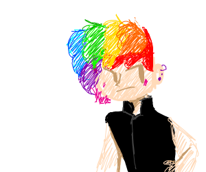 Punk girl hates her rainbow hair