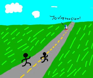 sonic beating the other people in a race