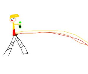 Jazza drawing a rainbowline